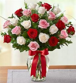 Pink, White and Red Rose Bouquet